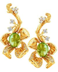 Chekotin Jewellery - Yellow Gold Flower Eden Drop Earrings | - Lyst