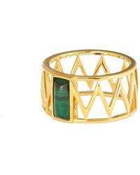 Alexandra Alberta - Yellow Gold Plated Mini Guggenheim Ring With Malachite - Lyst