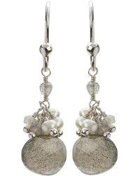 Mishanto London - Cari Pearl And Labradorite Drop Earrings - Rhodium Plated - Lyst