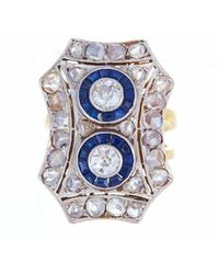 Alexis Danielle Jewelry - Antique Art Deco 18kt Diamond And Sapphire Platinum Ring - Lyst
