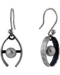 Jan D - Hammered Earrings With One Pearl - Lyst