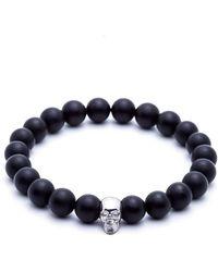 Atolyestone London - Agate Skull Beaded Bracelet - Lyst