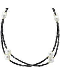 Elisa Ilana Jewelry - Pearl & Black Cz Necklace - Lyst