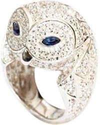 MARCELLO RICCIO - White Gold, Diamond & Blue Sapphire Owl Ring - Lyst