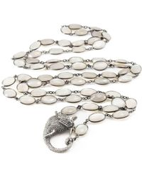 ClonferoDaPonte - Sterling Silver Bezel Moonstone Elephant Clasp Necklace - Lyst