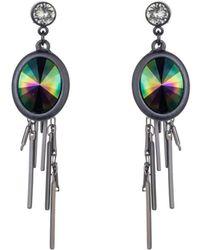 Nadia Minkoff - Gunmetal Petrol Oval Cluster Earrings - Lyst