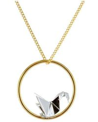 Origami Jewellery - Gold And Sterling Silver Parrot Circle Origami Necklace - Lyst