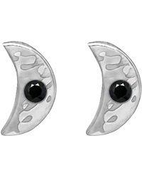 Murkani Jewellery - Sterling Silver & Black Spinel Crescent Moon Earrings - Lyst
