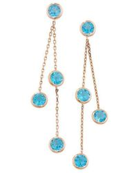 London Road Jewellery - Pimlico Rose Gold Blue Topaz Raindrop Drop Earrings - Lyst