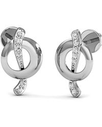 Diamoire Jewels - Nature Inspired 14kt White Gold Diamond Pave Earrings - Lyst