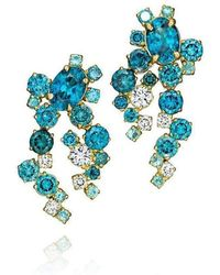 Madstone Design - Teal Blue Zircon And Diamond Melting Ice Earrings - Lyst