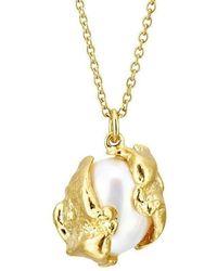 Joseph Lamsin Jewellery - Cornish Seawater Cast Encased Oval Pearl Gold Vermeil Necklace - Lyst