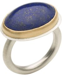 Naomi Tracz Jewellery Lapis Lazuli Ring - 18kt Yellow Gold And Silver