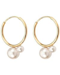Mimata - Pure Earrings In Yellow Gold With Pearl - Lyst