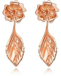 Liz Earle Fair and Fine - Wild Rose Stud Earrings With Leaf Drops Rose - Lyst