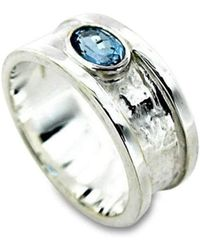 Will Bishop Sterling Silver, Gold & Blue Topaz Drum Ring