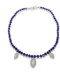 Hissia - Lapis Lazuli Necklace With Rhodium Shields Charms - Lyst