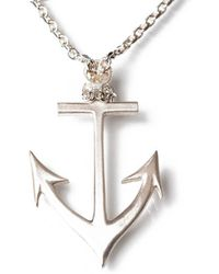Ed Wilson Jewellery - Brushed Sterling Silver Anchor Necklace - Lyst