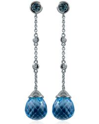 Estenza - Ellie White Gold Blue Topaz Earrings - Lyst