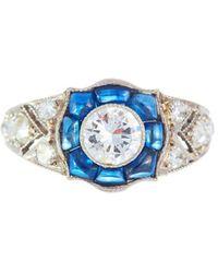 Alexis Danielle Jewelry - Stunning Art Deco Diamond Sapphire Platinum Ring - Lyst