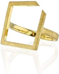 Ilda Design - Gold Plated Ring With Square Top - Lyst