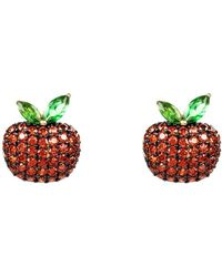 LÁTELITA London - Yellow Gold Plated Sparkling Red Apple Earrings - Lyst