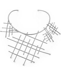 Noritamy - Net Statement Collar Necklace Silver Tone - Lyst
