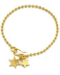 Vicky Davies - Sterling Silver & 18kt Gold Double Star Bracelet - Lyst