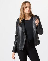 Jigsaw - Washed Leather Biker Jacket - Lyst