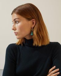 Jigsaw - Hammered Hoop Tassel Earrings - Lyst