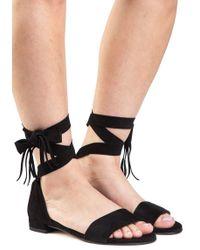 Stuart Weitzman - Corbata Black Suede Lace Up Sandal - Lyst