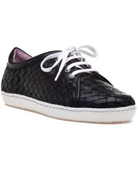 Robert Zur - Terri Tie Black Woven Black Leather Sneaker - Lyst