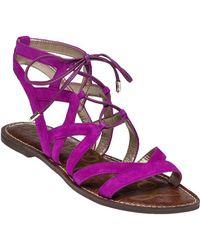 9230210527380e Lyst - Sam Edelman Gemma Suede Gladiator Sandals in Purple