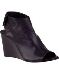 275 Central | Open Toe Wedge Bootie Black Leather | Lyst