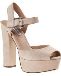 a88023e60ce Steve Madden Jillyy Platform Block Heeled Sandals in Pink - Lyst