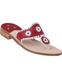 Jack Rogers - Palm Beach Thong Sandal White/red Leather - Lyst