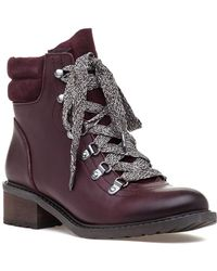 Sam Edelman | Darrah Lace Up Boot Wine Leather/suede | Lyst