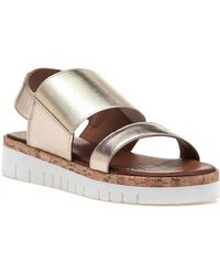 275 Central | 7919 Gold Leather Sandal | Lyst