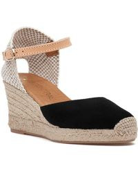 275 Central - Lola-a Espadrille Wedge Black Suede - Lyst
