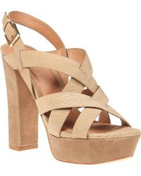 0f7fcaa9543 Michael Kors Inez Leather Platform Sandal in Brown - Lyst