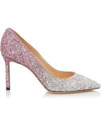 Jimmy Choo - Romy 85 Platinum And Flamingo Ice Glitter Dgrad Fabric Pointy Toe Court Shoes - Lyst