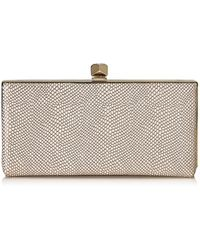 Jimmy Choo - Celeste/s Nude Printed Metallic Leather Clutch Bag - Lyst