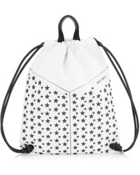 Jimmy Choo - Marlon White And Black Biker Leather Drawstring Backpack With Stars - Lyst
