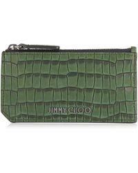 Jimmy Choo Conway Porte-Cartes En Cuir Nubuck Noir Imprim Crocodile Vert Arme One Size
