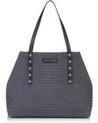 Jimmy Choo - Pimlico/s Slate Crocodile Printed Nubuck Leather Small Tote Bag With Star Trim - Lyst