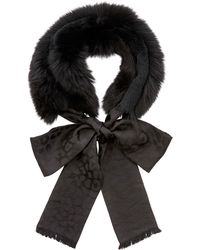 Jimmy Choo - Grace Black Fox And Lapin Fur Collar With Woven Leopard Jacquard Pattern - Lyst
