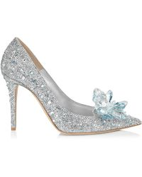Jimmy Choo - Avril Crystal Covered Pointy Toe Pumps Crystal 34.5 - Lyst
