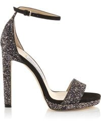 Jimmy Choo - Misty 120 Black Suede Glitter Sandals - Lyst