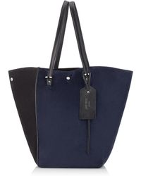 Jimmy Choo - Twist Tote/l Navy And Black Suede Large Tote Bag - Lyst