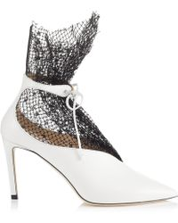 Jimmy Choo - Leanne 100 White Calf Leather Bootie With Polka Dot Net - Lyst